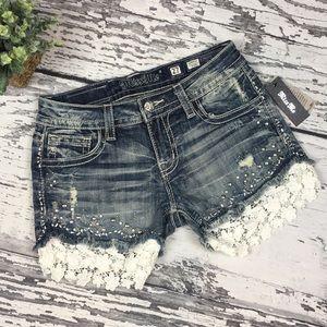 Miss Me Jean Lace Shorts • Sz 27